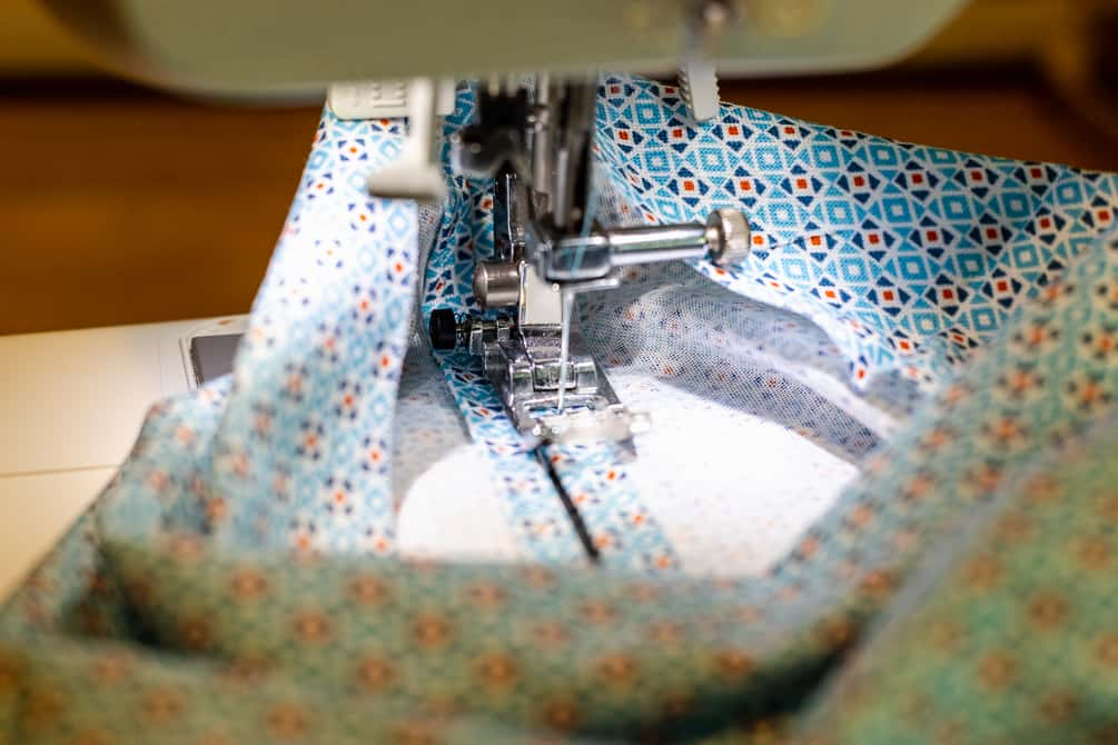 sewing the seams for a homemade fabric surgical mask