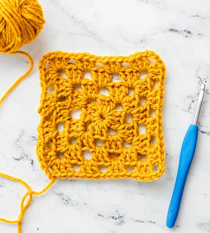 a finished basic crochet granny square