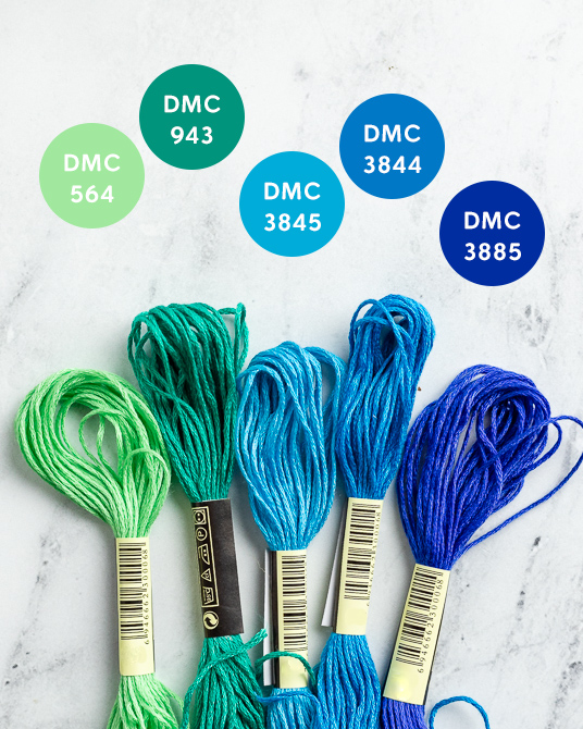 blue and green embroidery floss