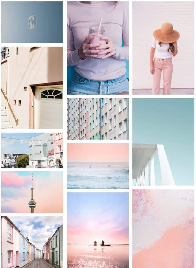 Pastel Wall Collage with Pink and Blue