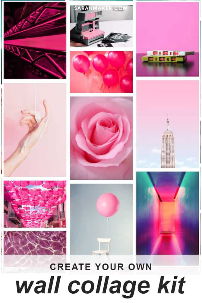 neon pink aesthetic vsco inspired collage wall