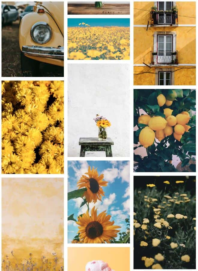 wall collage of yellow images for aesthetic decor