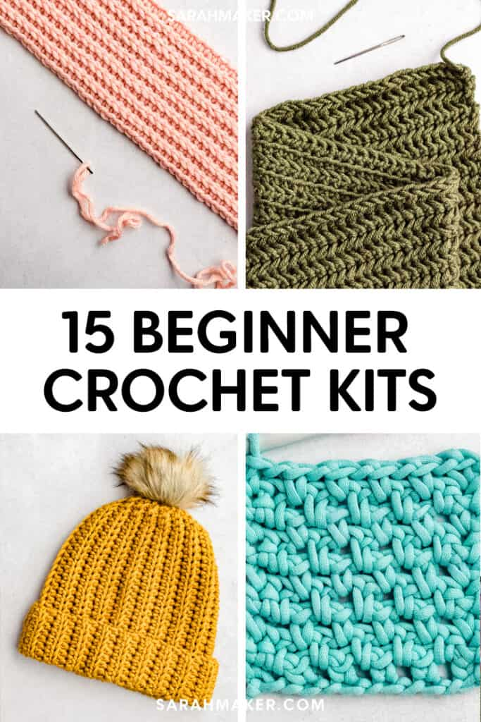 pin image for 15 beginner crochet kits