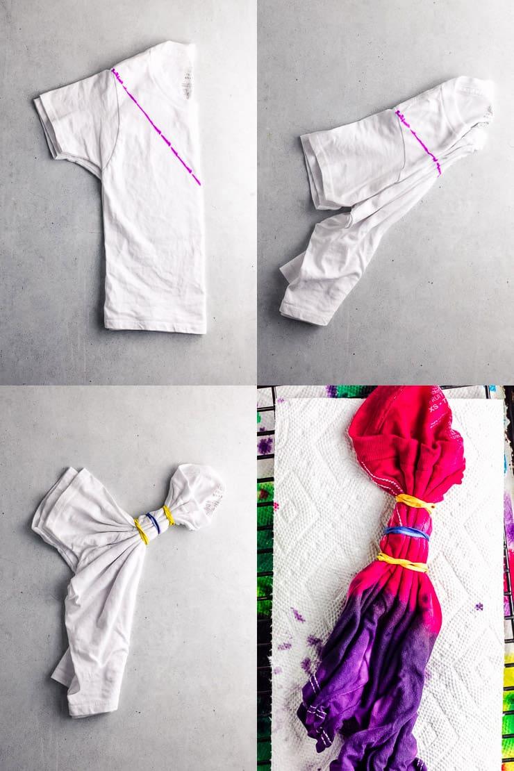 diagram showing the steps to fold a chevron tie de t-shirt
