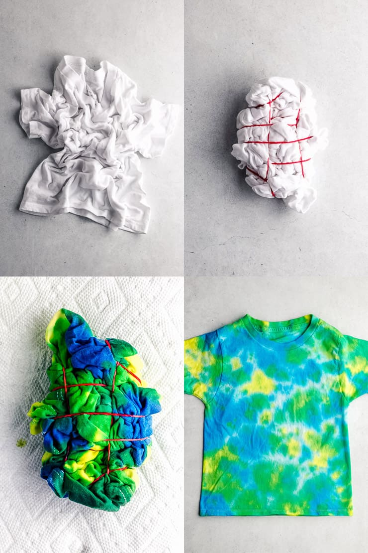 how to make a crumple or scrunch tie dye t shirt