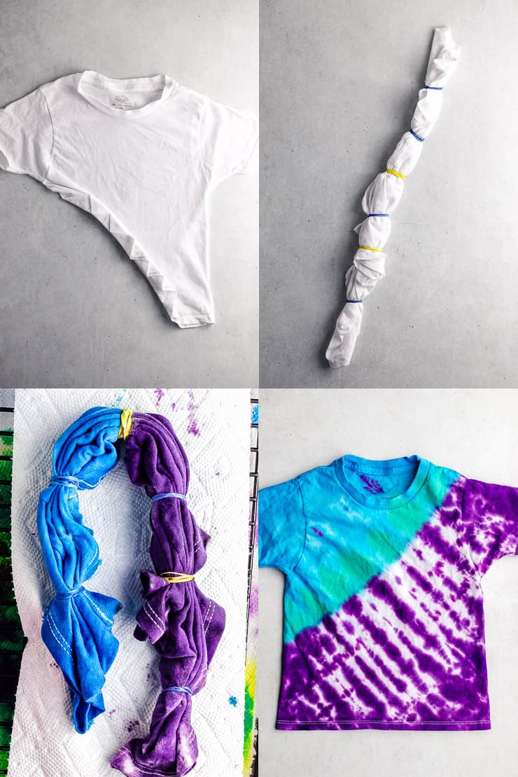 diagram showing how to fold a t shirt to make diagonal stripes with tie dye