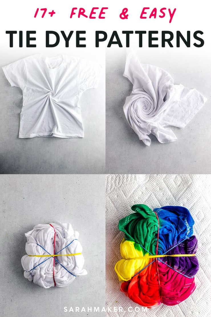 pin image showing how to tie dye a rainbow spiral design